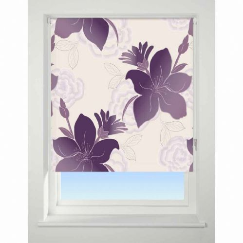 Universal Patterned Blackout Roller Blind - Lily Purple